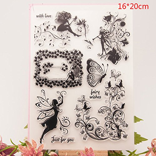 Shoresu Fairy Flower Clear Stamps Sheets Transparent Silicone Seal for DIY Scrapbooking Craft Card Photo Album Decorative 16x20cm/6.29x7.87