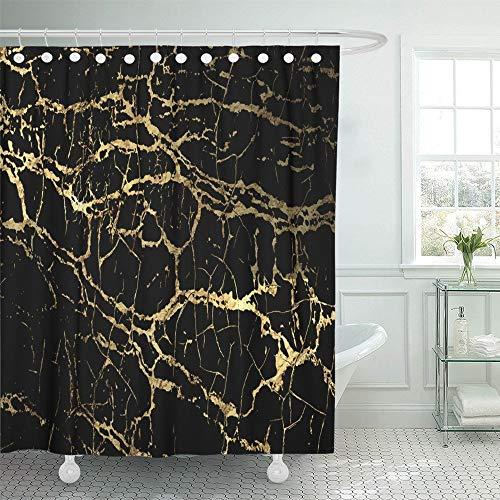Cortina de baño Decoración para el hogar Mármol negro Diseño de veteado dorado para el catálogo de libros Grieta blanca Óxido Pintura de tinta Objeto Tela de poliéster impermeable Gancho ajustable