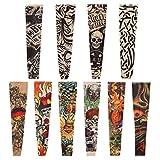 Naler 10pcs Tattoo Sleeve, Tatuaggi temporanei Manica Vestito Operato dalle Calze del Braccio per Uomo Donna