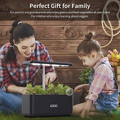 iDOO-Smart-Garden-with-24W-LED-Grow-Light-Hydroponics-Growing-System-Auto-On-Off-3-Grow-Modes-Height-Adjustable-Indoor-Herb-Garden-Kit-7-Pods-Smart-Germination-Kit-Black