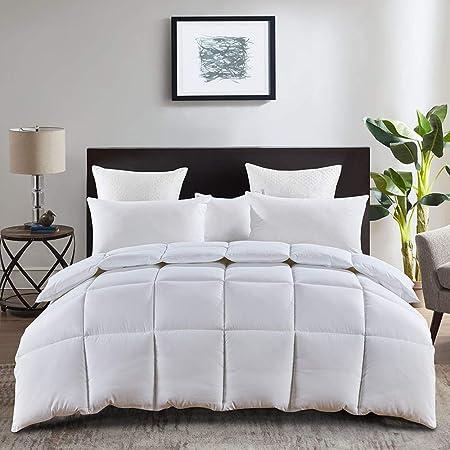 ALYX Down Alternative Comforter, Twin Size Winter Warm Comforter Duvet Insert, All Season Smooth Microfiber Duvet Insert, Lightweighted Stand Alone Comforter with Corner Tabs (White, Twin)