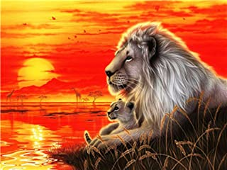 LoveTheFamily The Lion King and his Son and The Sun are Shining Paint by Numbers Kits DIY Digital Painting Coloring On Canvas Oil Painting by Yourself Handmade (Frameless, 40x50cm)