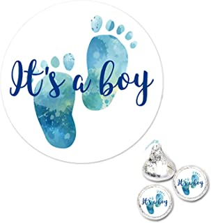 300 Chocolate Drop Labels Stickers- Gender Reveal Footprints Kisses Labels For Baby Shower, It's a Boy Baby Shower Favor Labels.