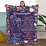 TURMTF Personalized Throw Blankets to Granddaughter Gift from Grandma Christmas Birthdays Soft Bed Blankets for Granddaughter Gift (to My Granddaughter,Grandma, Size:50'x60')