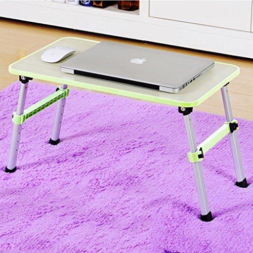 Ordinateur portable table lit petite table pliable dortoir bureau paresseux table simple bureau avec levage une bordure (Color : Green)