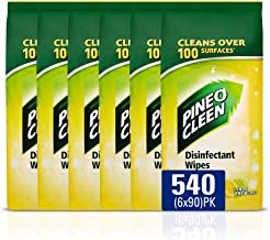 Pine O Cleen Antibacterial Disinfectant Surface Wipes Bundle Lemon and Lime, Pack of 540 Wipes, (6 x 90 Pack)