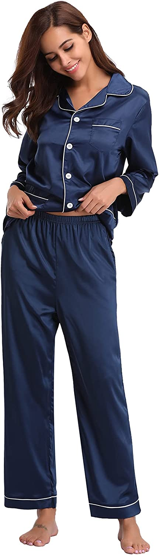 Women's Satin Pajama Set Long Sleeve Button Down Silk Pjs Set 2 Piece Sleepwear Loungewear