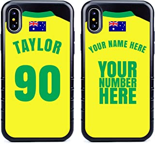 Custom Australia Flag Soccer Jersey Cases for iPhone X/XS by Guard Dog – Personalized – Put Your Name and Number on a Phone Case. Includes Screen Protector (Black,Black)