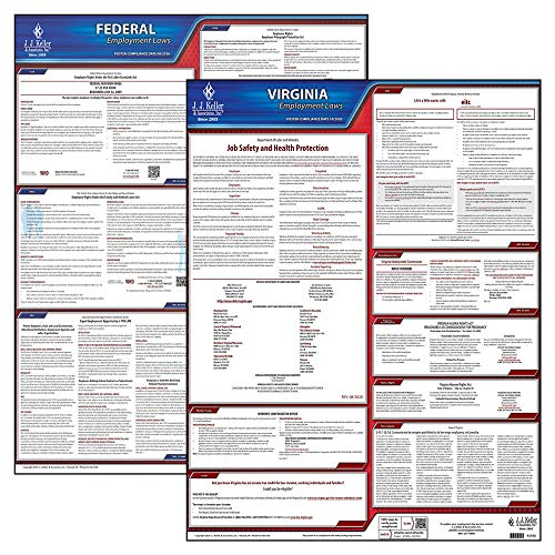 2021 Virginia State and Federal Labor Law Poster Set (English, VA State) - OSHA Compliant Laminated Posters - J. J. Keller & Associates
