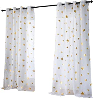 Kotile Nursery/Kid's Bedroom Sheer Door Curtain Panels with Gold Foil Print Star Patern, Thin and Soft Grommet White Voile Sheer Curtains for Girls Bedroom (2 Panels, 52 x63 Inches)