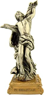 The Michelangelo Liturgical Sculpture Collection Pewter Saint St Sebastian Figurine Statue on Gold Tone Base, 4 1/2 Inch