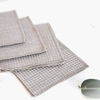 Waffle Weave Cleaning Cloths Dusters - Pure 100% Linen - 4-Pack 10.6x10.6-inch Gray Organic Flax Small Towel Washcloth