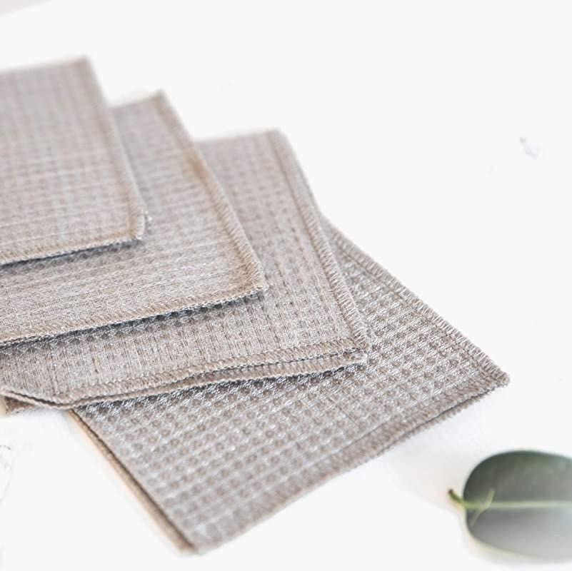 Waffle Weave Cleaning Cloths Dusters Pure 100 Linen 4 Pack 10 6inch X 10 6inch Gray Organic Flax Small Towel Washcloth
