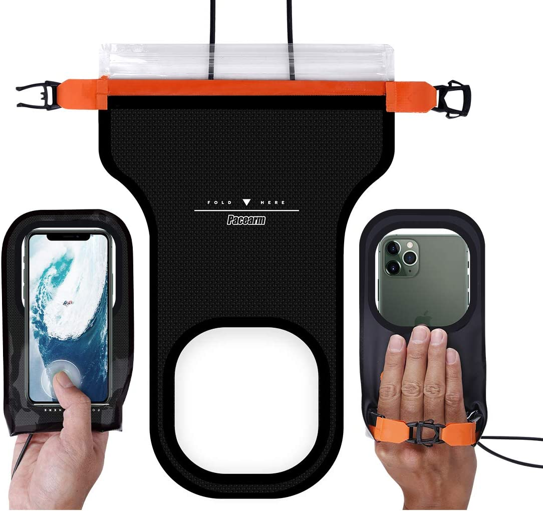 PACEARM Waterproof Phone Lanyard Pouch, IPX8 Waterproof Case Cell Phone Dry Bag for iPhone 11/11 Pro Max/Xs/XR/X/8/8Plus Galaxy Pixel LG up to 7