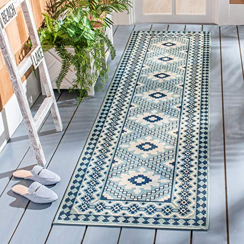 Safavieh Veranda Collection VER099-3934 Indoor/ Outdoor Runner, 2' 3' x 14', Ivory/Blue