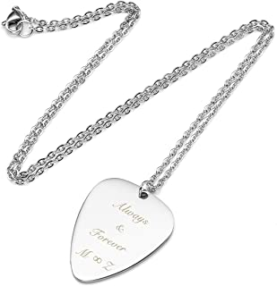 Personalized Custom Engraved Name Necklace Guitar Pick Initial Alphabet Pendant Necklaces with Chain Silvery for Family and Best Friend