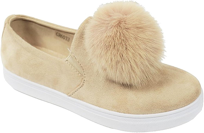 golden Road G.N.D Women Slip On Casual Pom Pom Suede Fashion Sneaker   GR6033
