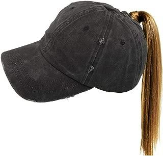 Washed Ponytail Hat Baseball Distressed Women High Bun Dad Hat