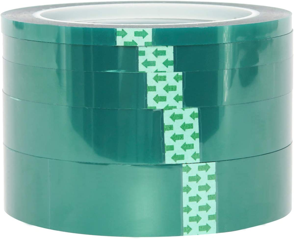 NovelBee 5 Roll Green Large-scale sale National products Polyester High Masking Resi Heat Temp Tape