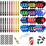 CyeeLife-Dart Accessories kit,36 Dart Flights+18 Aluminum Shafts+Sharpener+Dart Tool+100 Rubber Rings+9 Flight...