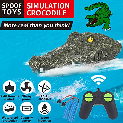 Remote Control Crocodile Boat, 2.4G Electric RC Boat Simulation Alligator Head Vehicles Floating Waterproof Prank Spoof Toys for Pools and Lakes