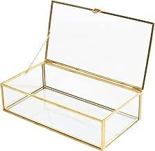 Golden Vintage Glass Lidded Box Edge Bracelet Keepsake Decorative Jewelry Display Personalized Large Clear Rectangle Box Rings Bracelet Golden Organizer Home Decor (8x4.5x2in)
