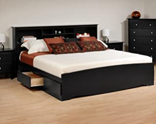 Prepac Sonoma Bookcase Platform Storage Bed with Headboard in Black-King - King