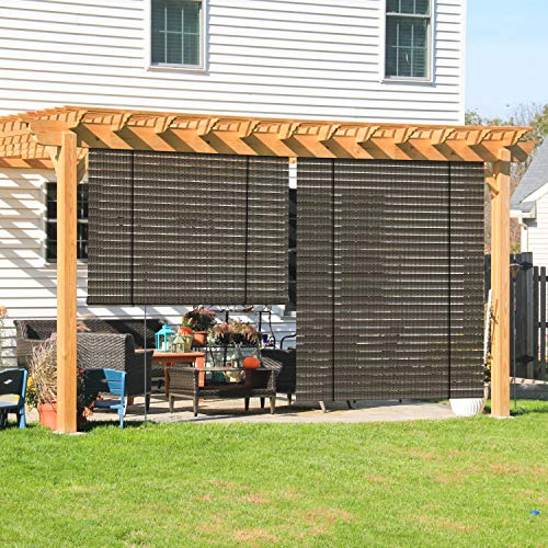Coarbor Outdoor Roll up Shades Blinds for Pergola Porch Balcony Deck Roller Shade Screen 4'W x 6'L Hollow Out Brown