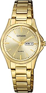 Citizen Women Gold Dial Stainless Steel Band Watch - EQ0593-85P