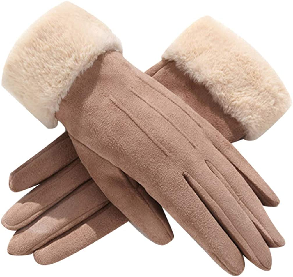 BESPORTBLE 1 Pair Knit Finger Gloves Wool Lining Gloves Thicken Cashmere Suede for Women Winter Cold Weather Finger Gloves (khaki)