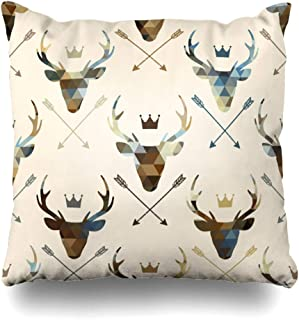 Ahawoso Decorative Throw Pillow Cover Crown Deer Heads Abstract Geometric Antler Beast Color Creative Stag Home Decor Zippered Square Size 18