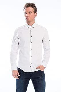 Manche Beyaz En Çizgi Uzun Kol Yıkamalı Gömlek | Me19S111843