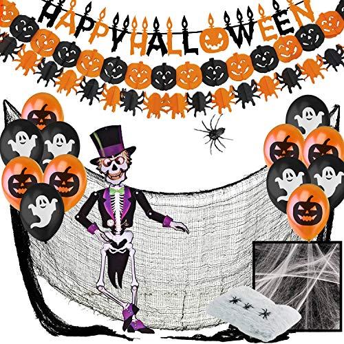 Jonami Decoracion Halloween Casa XXL, Decoraciónes Fiesta de Miedo - Banderas Banderinas,Guirnaldas...