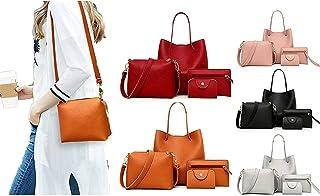 Handtasche Set Damen,Damen Elegant 4pcs Set Handtaschen Groß + Umhängetasche + Geldbörse + Kartenhalter Shopper Tote für B...