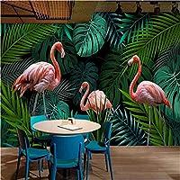 カスタム壁画壁紙モダン手描き熱帯雨林植物葉鳥背景壁紙3D-120X100CM