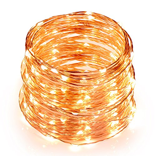 TOPLUS Cadena de luces LED Blanco Calido, 10m 100 Leds, IP65 Impermeable, Alambre de Cobre para Decoracion, Conexion USB, 5V