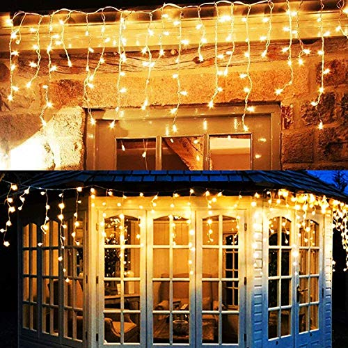 Twinkle Star 360 LED Christmas Iciclelights Outdoor Dripping Ice Cycle Lights, 29.5ft 8 Modes Curtain Fairy Lights with 60 Drops, Indoor Xmas Holiday Wedding Party Decorations, Warm White