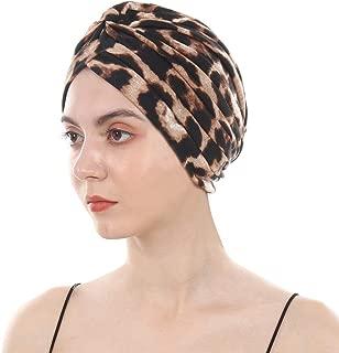 DuoZan Women's Cotton Turban Elastic Beanie Printing Sleep Bonnet Chemo Cap Hair Loss Hat