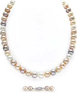 THE PEARL SOURCE AAA Quality Round Multicolor Freshwater Cultured Pearl Necklace for Women