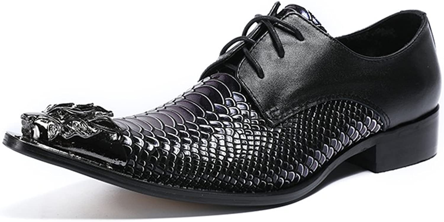 HUAN Men's shoes Spring Summer Leather Pointed Toe Business shoes Low-Top Crocodile Lines Oxford shoes for Casual Party & Evening (color   A, Size   39)