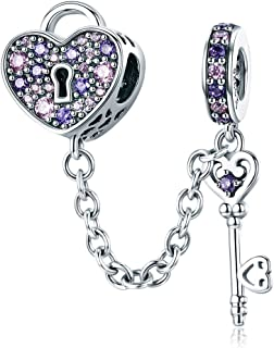 WOSTU Only Love Charms 925 Sterling Silver The Key of Heart Charms Beads for Her