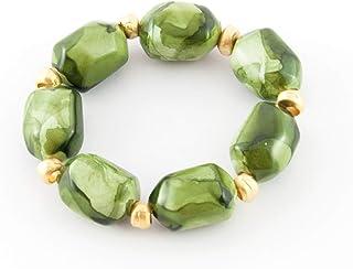 Braccialetto pietre in resina con pezzi in ottone di oro opaco. Bracciale donna regolabile con perle in resina. Bracciali ...