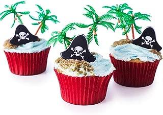 Cakegirls (12 Pirate Cupcake Picks Kit - Pirate Hat Topper Rings, Palm Tree Novelties, Red Baking Cups