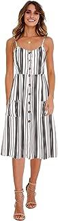 Womens Summer Sleeveless Hawaiian Dresses High Waist Button Down Floral Boho Midi Chiffon Dress with Pockets