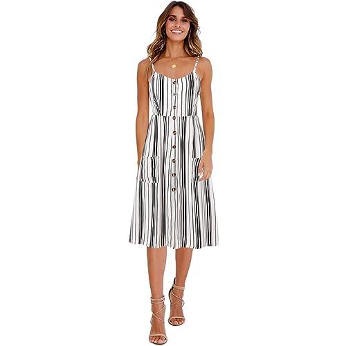81c9eeed49 Blooming Jelly Womens Summer Sleeveless Hawaiian Dresses High Waist Button  Down Floral Boho Midi Chiffon Dress