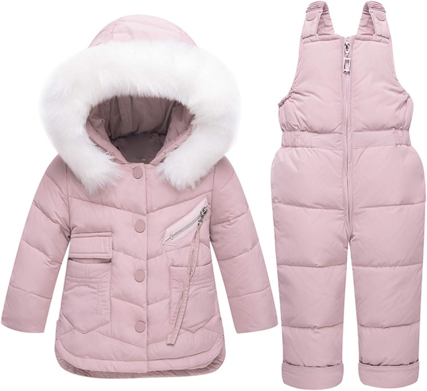 Children Jumpsuit Clothing Winter Snowsuit Kids Clothes Suit Girls Boy Down Coat Outerwear + Romper Clothing Set Children's Warm Jackets Bib Pants