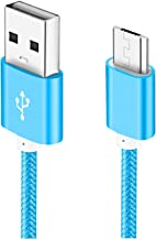 Micro USB Cable, 5ft 1 Pack Charging Cord Nylon Braided High Speed Durable Fast Charging USB Charger Android Cable Compatible with Samsung Galaxy S7 Edge S6 S5,Android Phone,LG G4,HTC-Blue