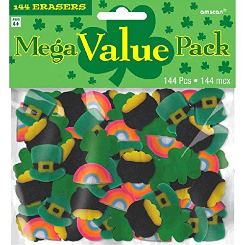 Amscan 394944 St. Patrick's Day Mini Rubber Erasers, 144 Ct. | Assorted Colors | Party Accessory