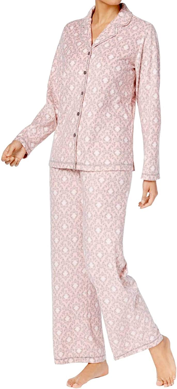Charter Club Button Down Fleece Pajama Set (Pink Damask)