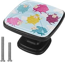 4 Pack Vierkante Lade Handvatten Kleurrijke Dier Schapen Garderobe Pull Kast Wit Kast Handvatten met Schroef voor Keuken B...